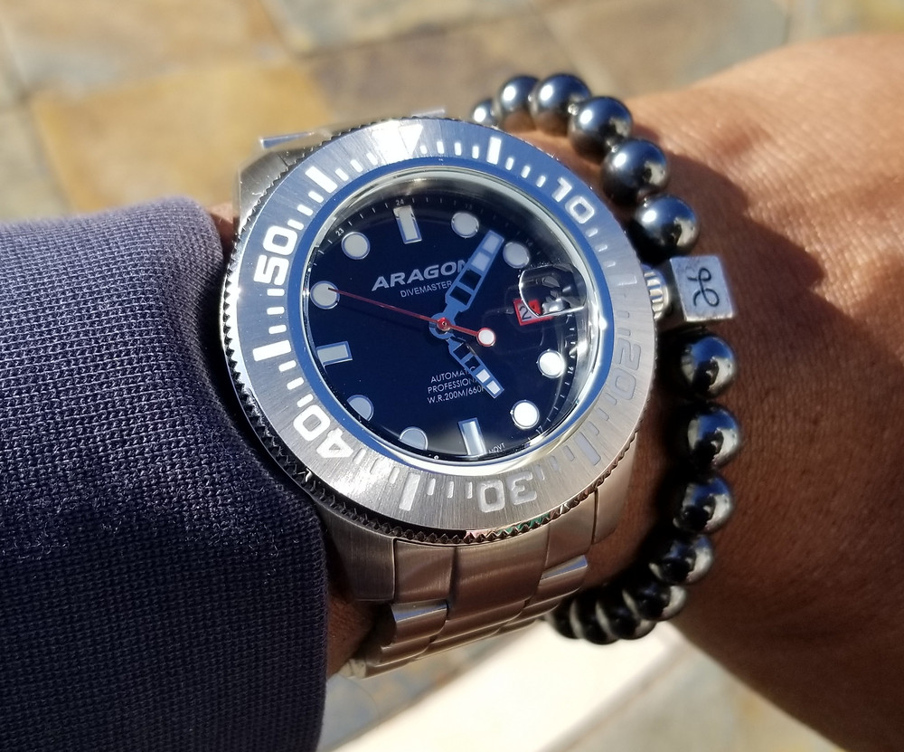 WOTD wrist-shot of the Aragon Divemaster II, Automatic Diver.   Paired with a beaded bracelet, designed by Aurum Brothers.