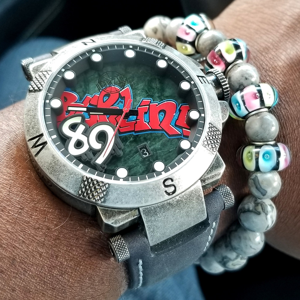WOTD wrist-shot of the Pramzius, Fall of the Berlin Wall, Limited Edition.  Paired today with a beaded bracelet, custom-crafted by Beads By Gonzo.