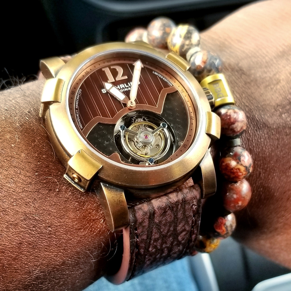 WOTD wrist-shot of the Stuhrling Original, Devilray Tourbillon, Limited Edition.  Paired with a custom-crafted bracelet, created by Beads By Gonzo.