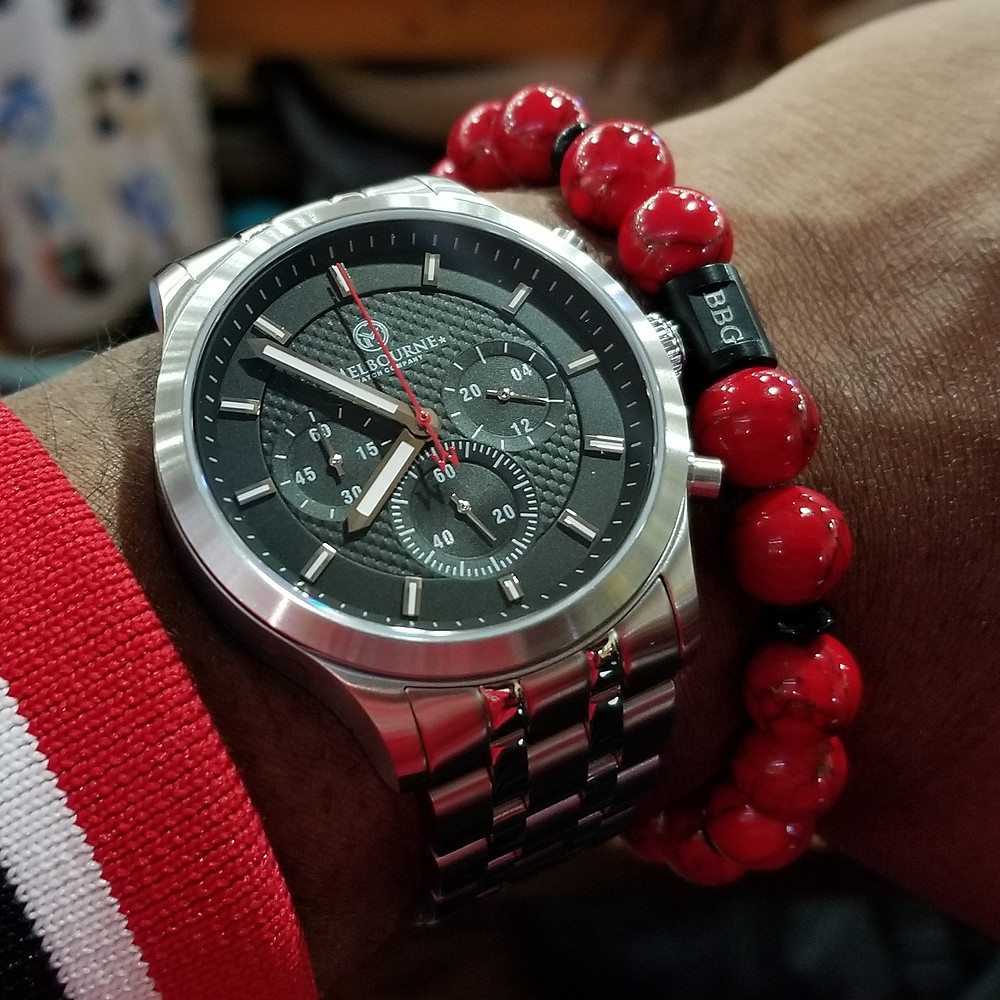 WOTD wrist-shot of the Melbourne, Hawthorne Chronograph.  Paired with a custom, beaded bracelet, designed by Beads By Gonzo.
