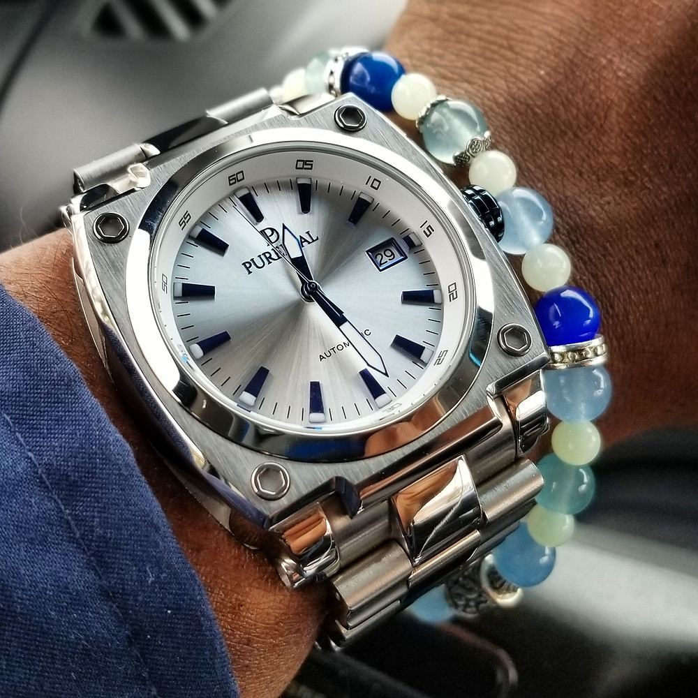 WOTD wrist-shot of the Puredial, Powersphere Automatic.   Paired with a custom, color-coordinated, beaded bracelet.