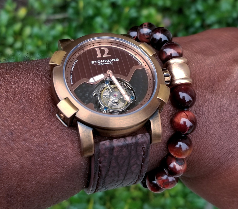 WOTD wrist-shot of the Stuhrling Original, Devilray Tourbillon, Limited Edition.  Paired with large-gauge, Tiger's-Eye Stone Bracelet.