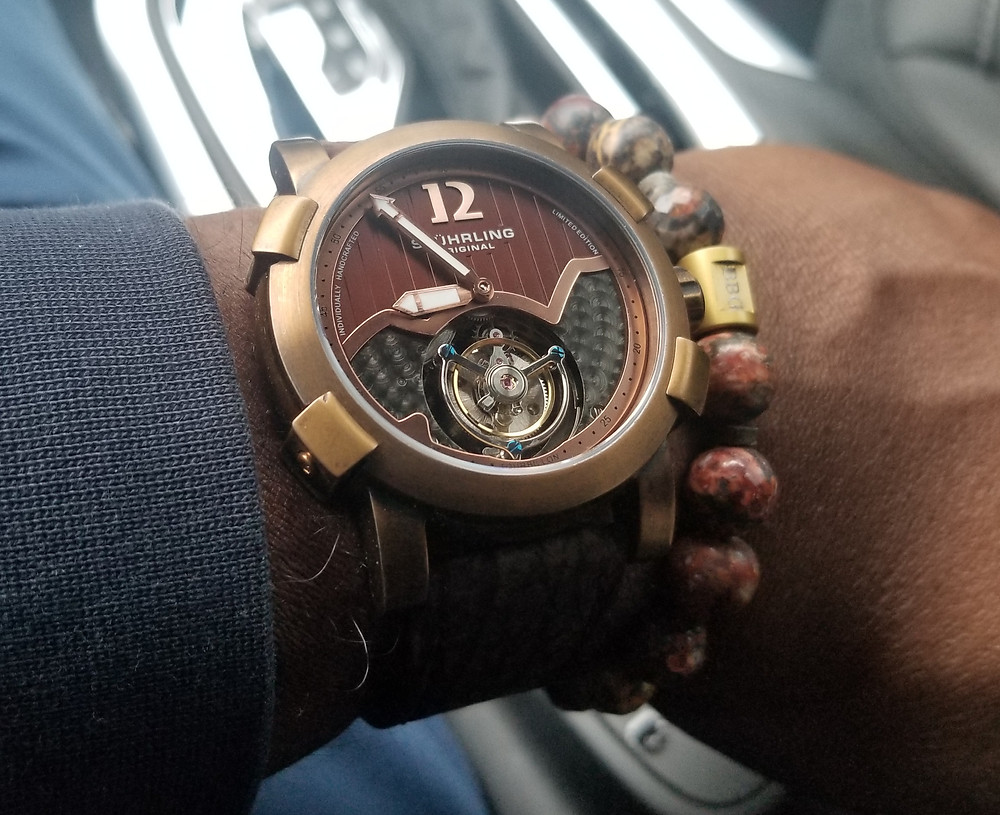 Stuhrling Original, Devilray Tourbillon, Limited Edition.  Accompanied by custom bracelet designed by Beads By Gonzo.