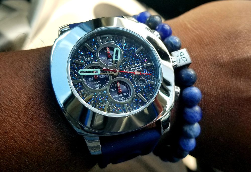 WOTD Wrist Shot of the Aragon, Parma Galaxy, Chronograph.  Paired with Aurum Brothers sodalite beaded bracelet.