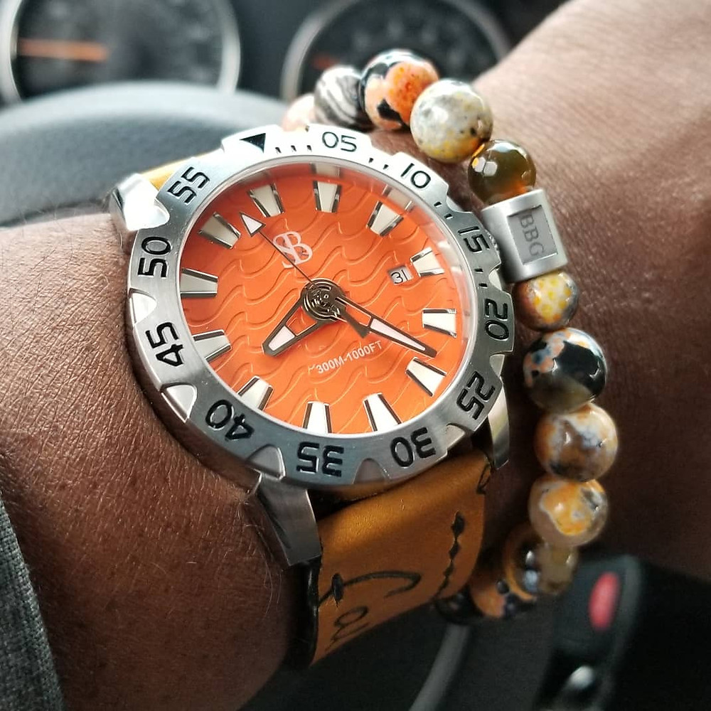 WOTD wrist-shot of the Smith & Bradley, Wraith Diver.  Paired with a custom, beaded bracelet, designed by Beads By Gonzo.