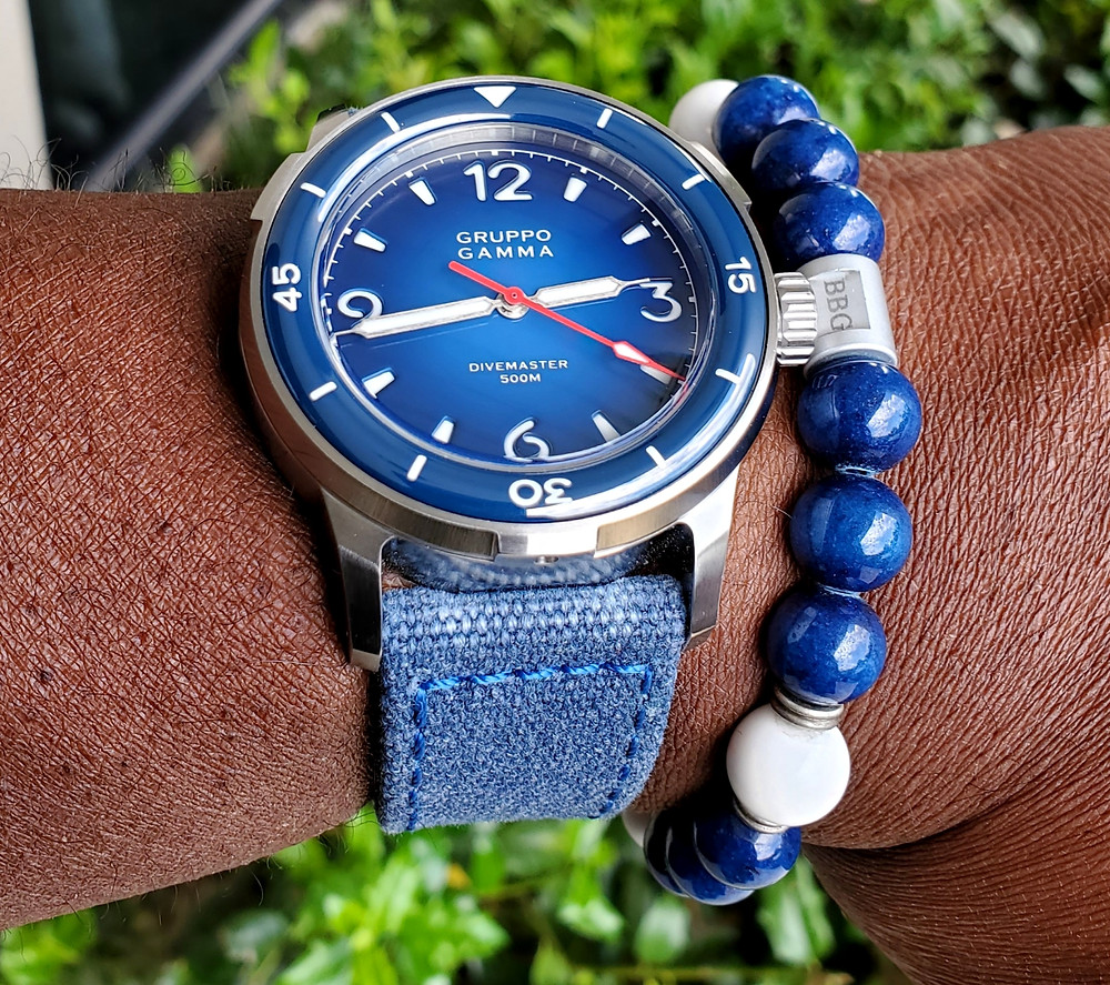 WOTD wrist-shot of the Gruppo Gamma, Divemaster 500.  Accessorized with a custom bracelet, created by Beads By Gonzo.