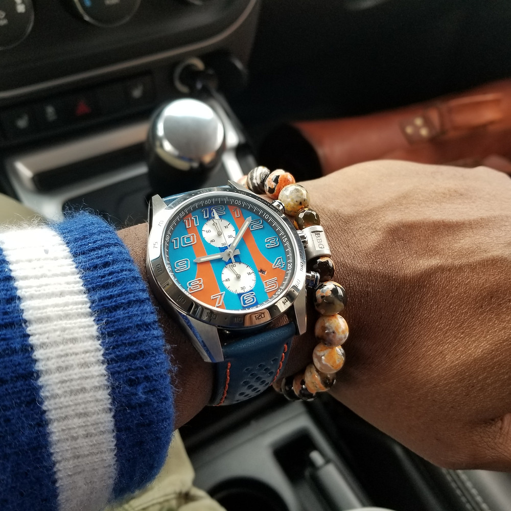 WOTD wrist-shot of the Szanto, Danny Sullivan Icon Series, Chronograph, paired with a custom, beaded bracelet, designed by Beads By Gonzo.