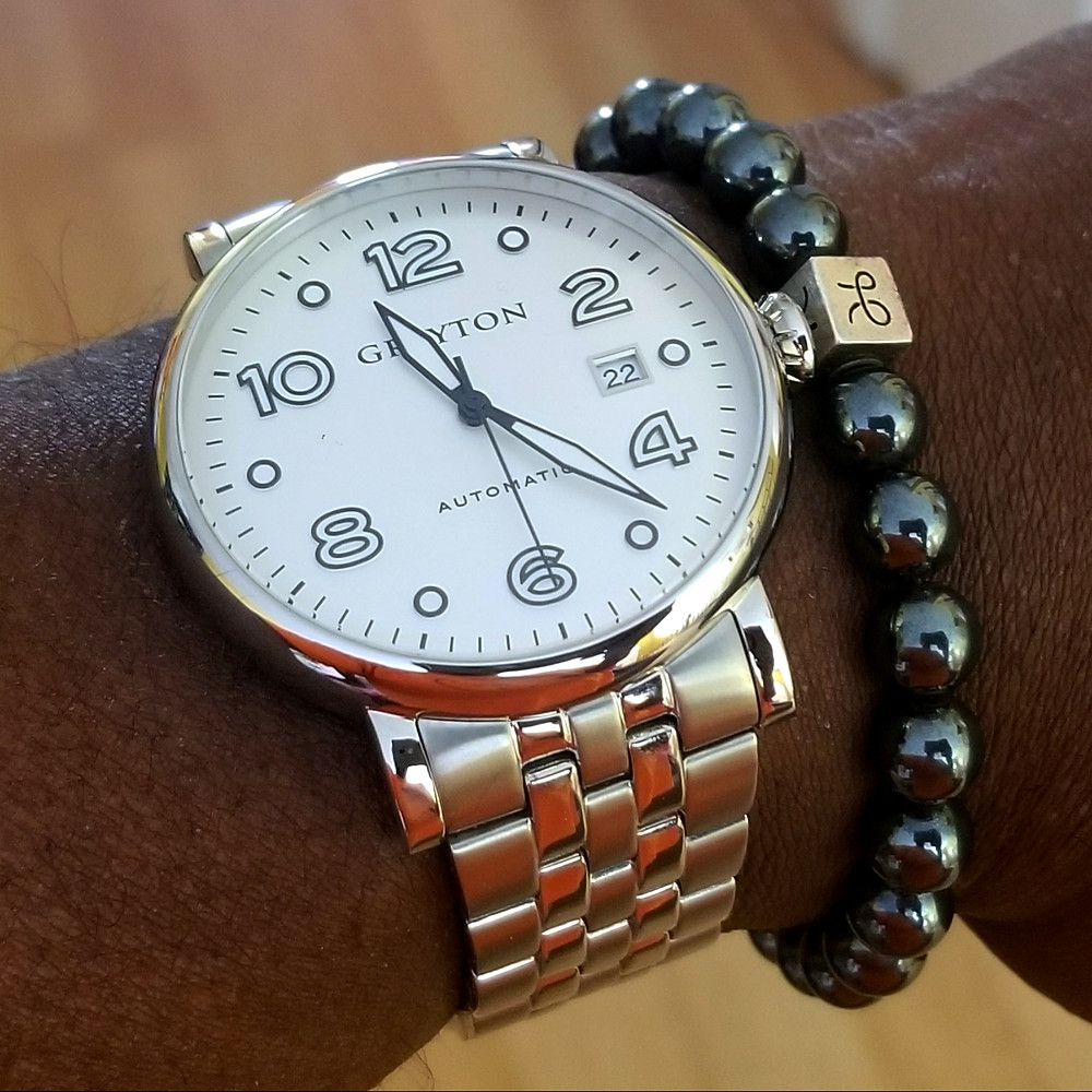 WOTD wrist-shot of the Grayton, Classic Automatic.  Paired with a minimalist, Hematite stone beaded bracelet, designed by Aurum Brothers.