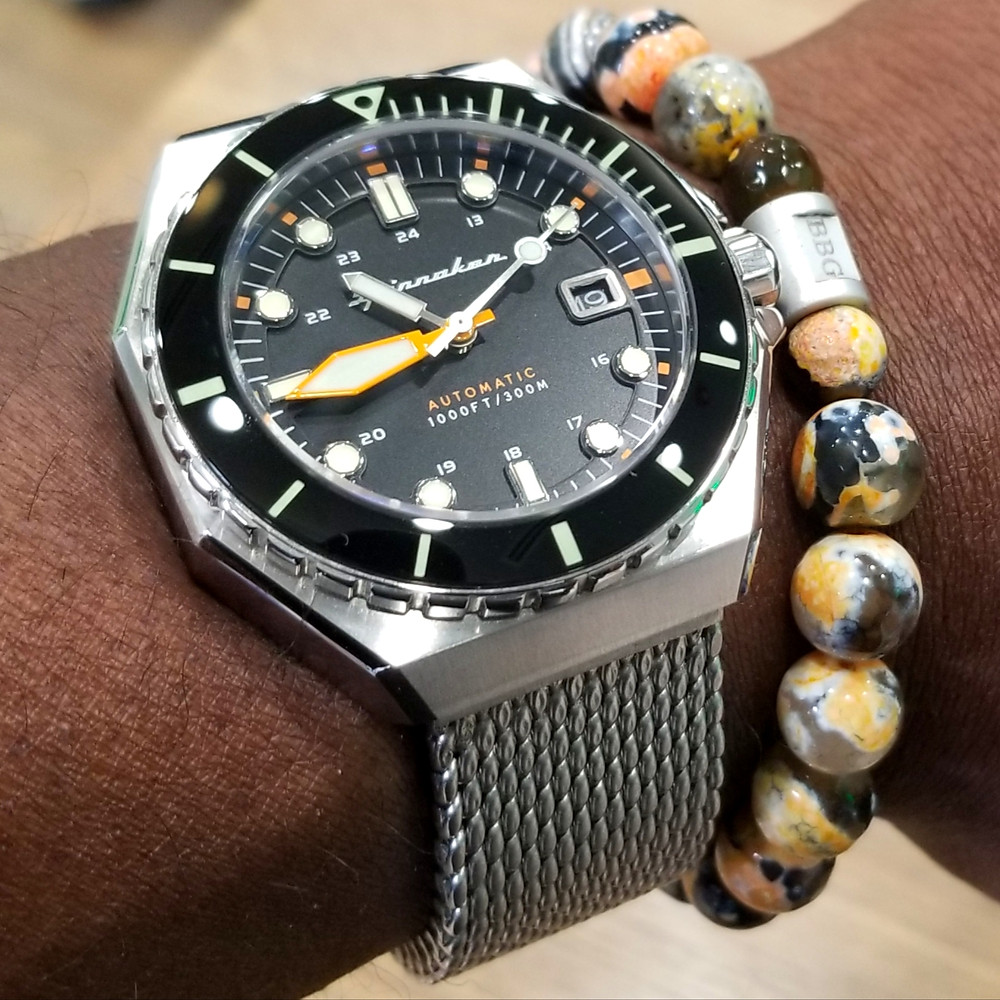 WOTD wrist-shot of the Spinnaker, Dumas Diver.  Paired today with a beaded bracelet, custom-made by Beads By Gonzo.