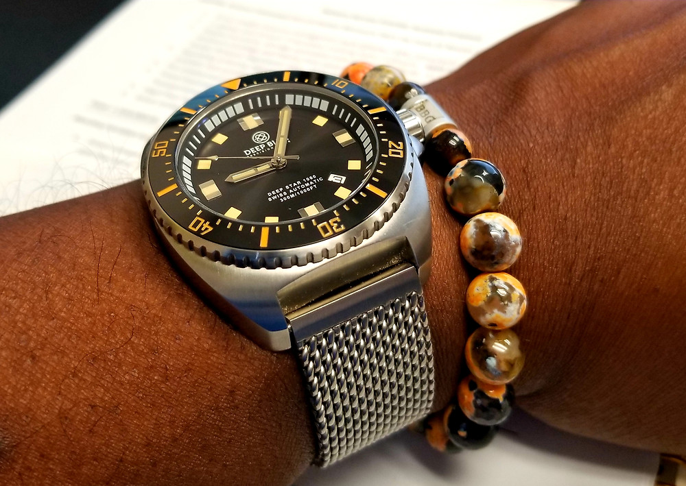 WOTD Wrist Shot of the Deep Blue, Deep Star 1000, Limited Edition timepiece, accompanied by custom-made bracelet from Beads By Gonzo.