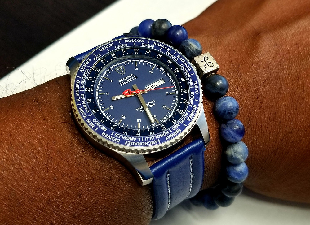 WOTD wrist-shot of the Detomaso, Trieste, Globetrotter, accompanied by a sodalite beaded bracelet from Aurum Brothers.