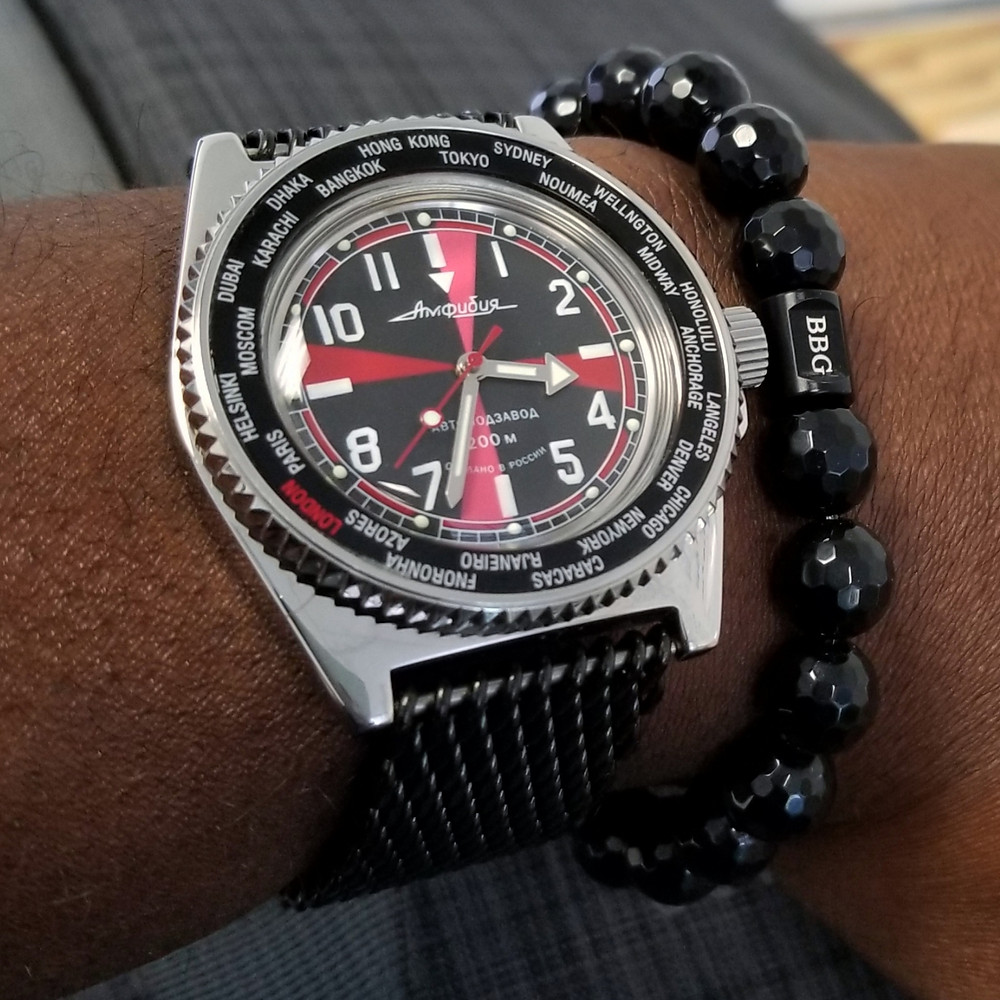 WOTD wrist-shot of the Vostok, Amphibia, Radio Room Mod.  Paired with custom-designed bracelet, created by Beads By Gonzo.