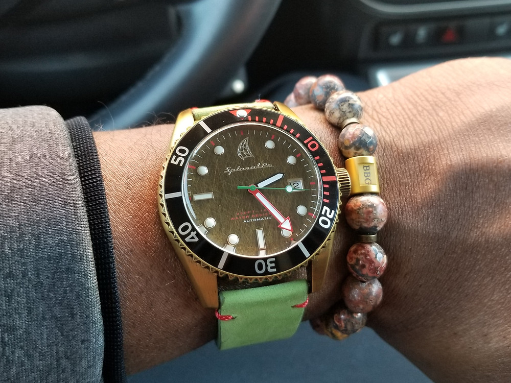 WOTD wrist-shot of the Spinnaker Wreck, automatic diver.  Paired with, a custom, beaded bracelet, designed by Beads By Gonzo.