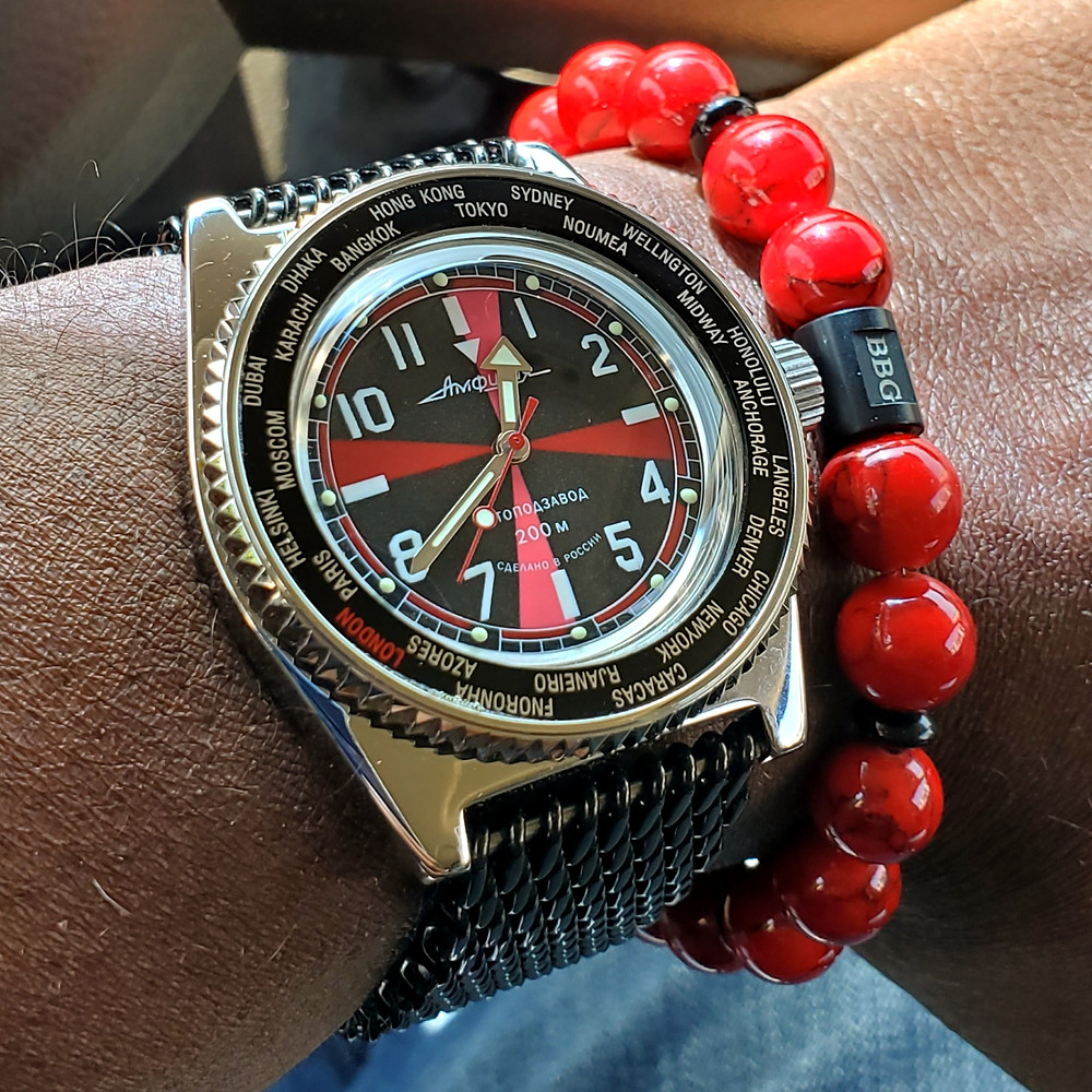 WOTD wrist-shot of the Vostok Amphibian, Radio Room Mod.  Paired with a custom-designed bracelet, crafted by Beads By Gonzo.