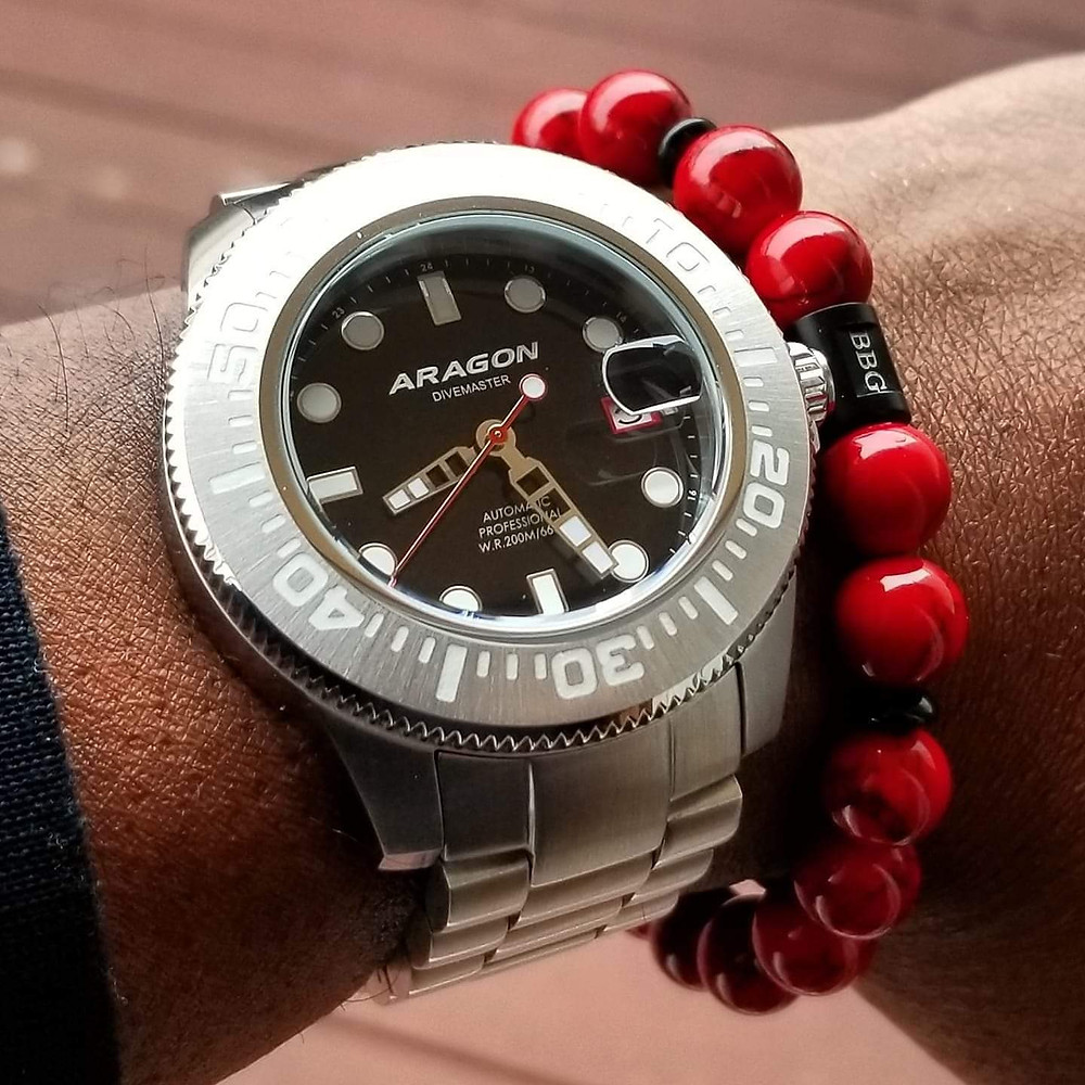 WOTD wrist-shot of the Aragon, Divemaster II, Automatic Diver.  Paired with custom, beaded bracelet, designed by Beads By Gonzo.