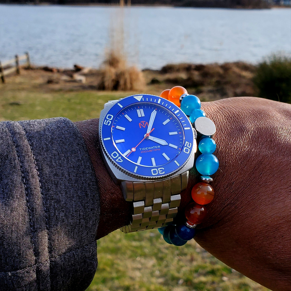 WOTD wrist-shot of the McDowell Time, Tidewater.  Paired with a custom-crafted bracelet, designed by Beads By Gonzo.