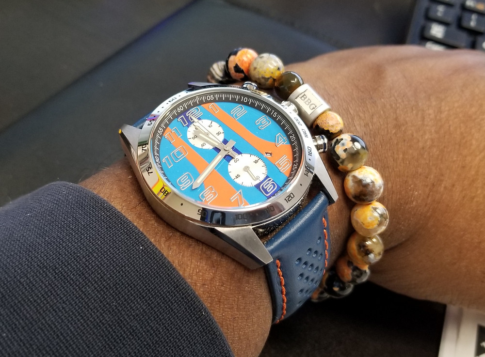 WOTD wrist-shot of the Szanto, Danny Sullivan Icon Chronograph, paired with custom, beaded bracelet, designed by Beads By Gonzo.