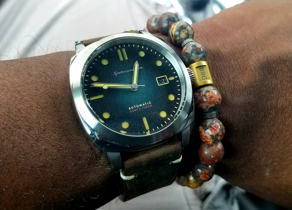 WOTD Wrist-Shot showing the Spinnaker, Hull, Automatic, paired with a Beads By Gonzo custom, beaded bracelet.
