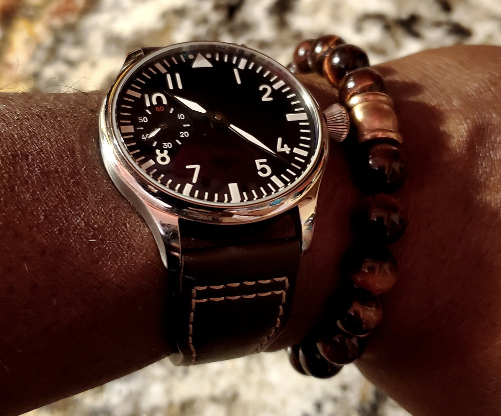 WOTD wrist-shot of the Parnis, Big Pilot - Mechanical, with Sterile Dial.  Paired with a Tiger's-Eye, beaded bracelet.