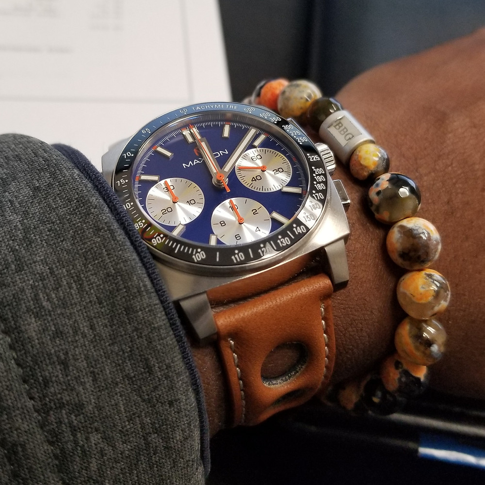WOTD wrist-shot of the McDowell Time, Maxton Chronograph, paired with a custom, beaded bracelet, designed by Beads By Gonzo.