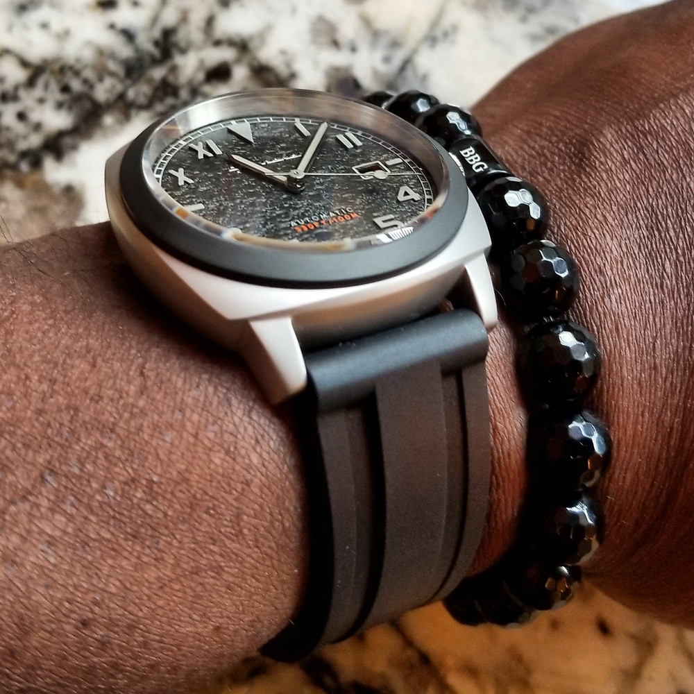 WOTD wrist-shot of the Spinnaker, Hull Automatic, Tactical.  Paired with a custom-designed bracelet, created by Beads By Gonzo.