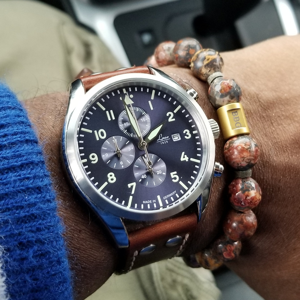 WOTD wrist-shot of the Laco, Atlantic Pilot Chronograph, paired with a custom, beaded bracelet, designed by Beads By Gonzo.