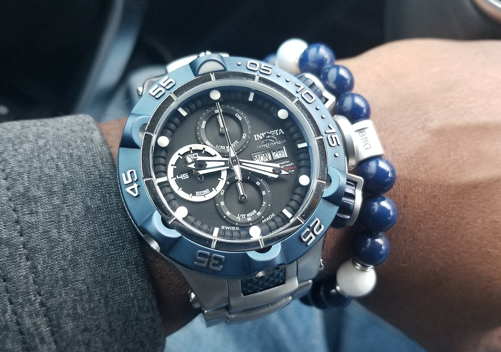 WOTD wrist-shot of the Invicta, SubAqua Noma V, Automatic Chronograph, paired with a custom, beaded bracelet, designed by Beads By Gonzo