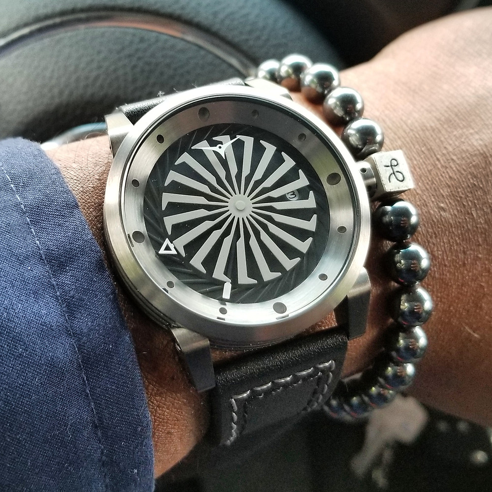 WOTD wrist-shot of the Zinvo Blade, Automatic.  Paired with a minimalist, Hematite stone, beaded bracelet, designed by Aurum Brothers.