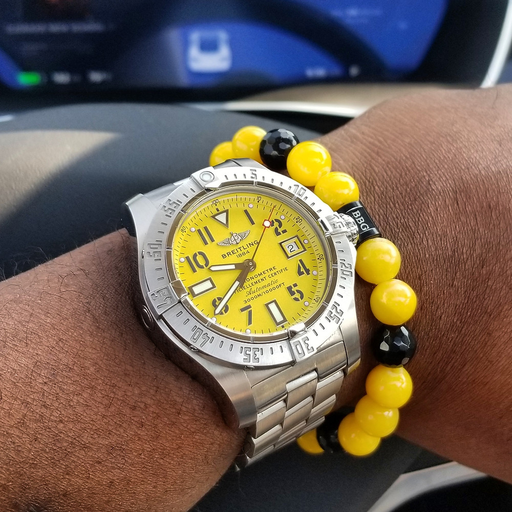 WOTD wrist-shot of the Breitling, Avenger Seawolf.  Paired with a custom-designed, beaded bracelet, crafted by Beads By Gonzo.