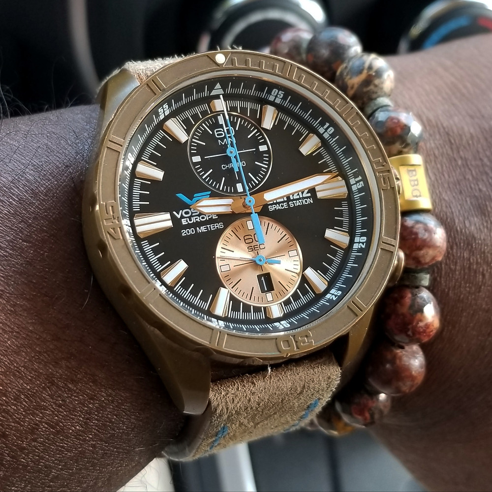 WOTD wrist-shot of the Vostok Europe, Almaz, Space Station - Bronze, Limited Edition.  Paired with a custom bracelet creation, designed by Beads By Gonzo.