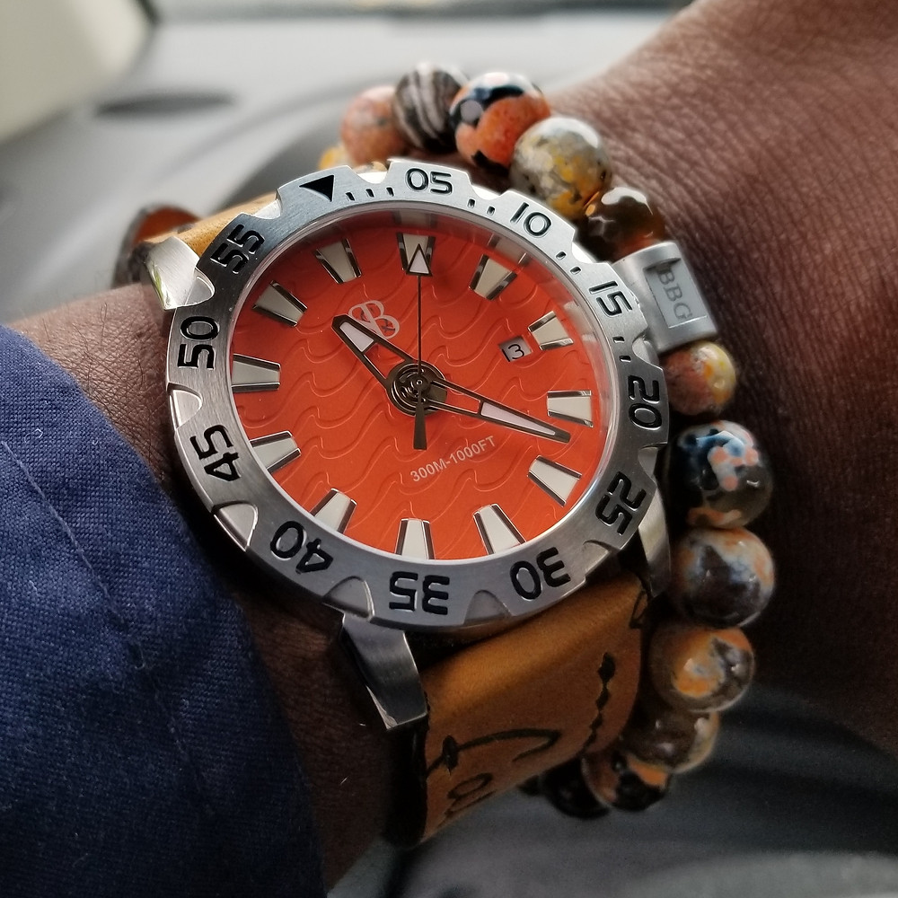 WOTD wrist-shot of the Smith & Bradley, Wraith Diver.  Paired with a custom bracelet, designed by Beads By Gonzo.