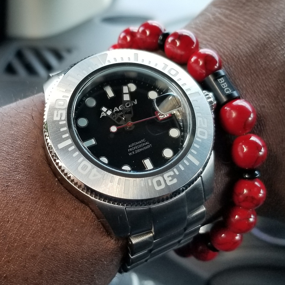 WOTD wrist-shot of the Aragon, Divemaster II.  Paired with a custom-designed, beaded bracelet, crafted by Beads By Gonzo.