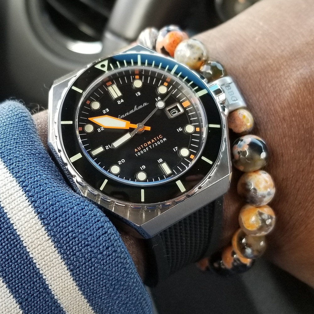 WOTD wrist-shot of the Spinnaker, Dumas, paired with a custom designed, beaded bracelet, designed by Beads By Gonzo.