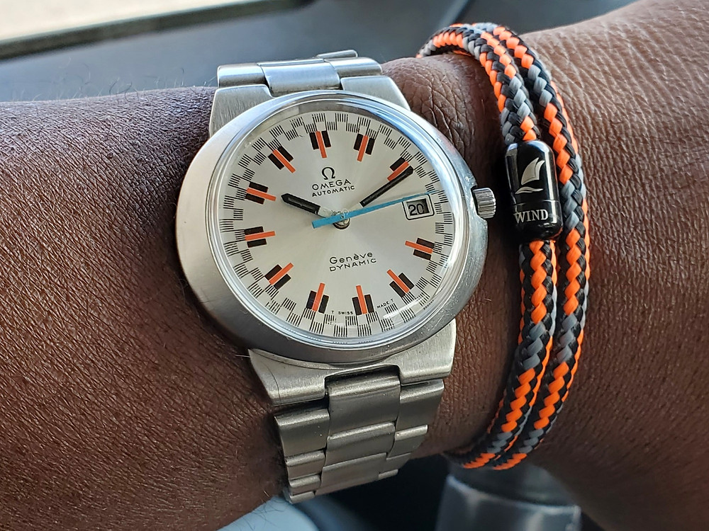 WOTD wrist-shot of the Omega, Geneve - Dynamic, with Racing Dial.  Paired with a color-coordinated, paracord rope bracelet, designed by Wind Sail Bracelet Company.