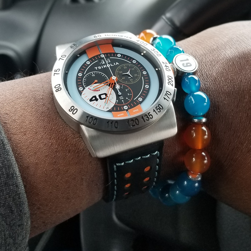 WOTD wrist-shot of the Tsikolia, GT40 Racing Chronograph, Limited Edition.  Paired with a custom, beaded bracelet, designed by Beads By Gonzo.