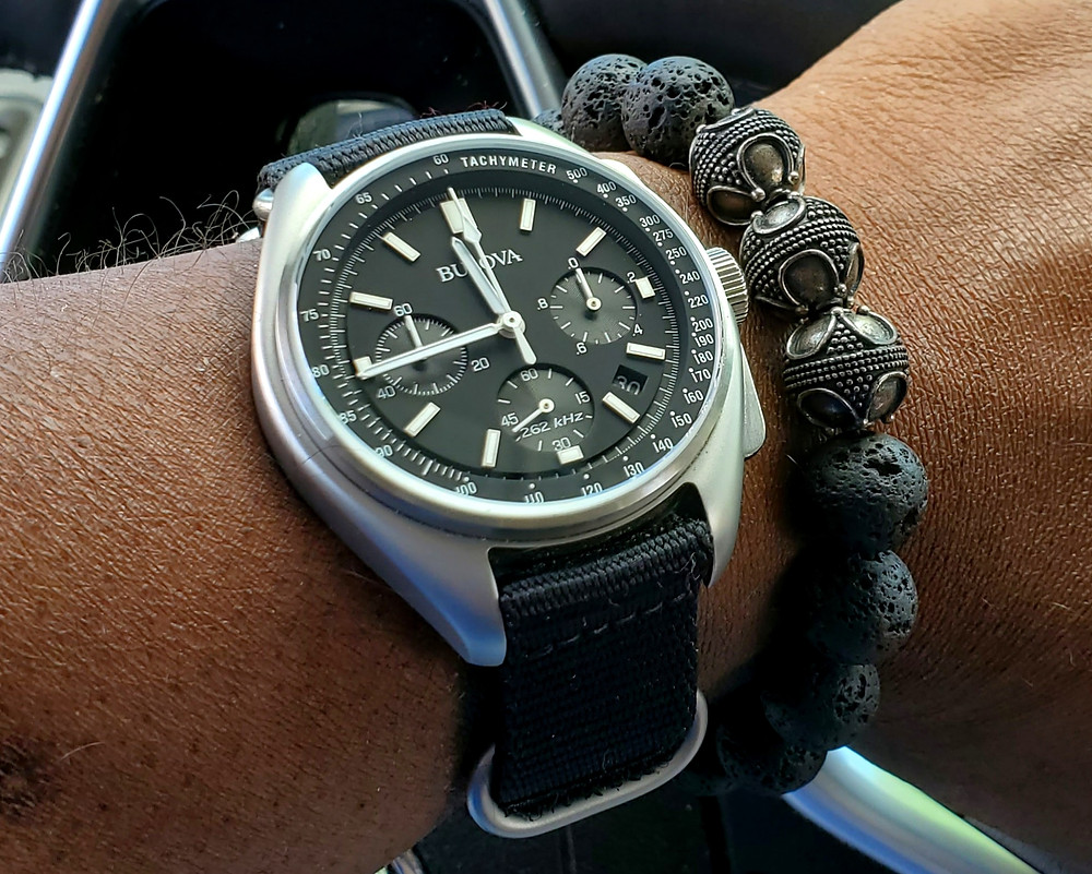 WOTD wrist-shot of the Bulova, Lunar Pilot, Special Edition.  Accessorized with a Premium, Lava stone bracelet, crafted by Aurum Brothers.