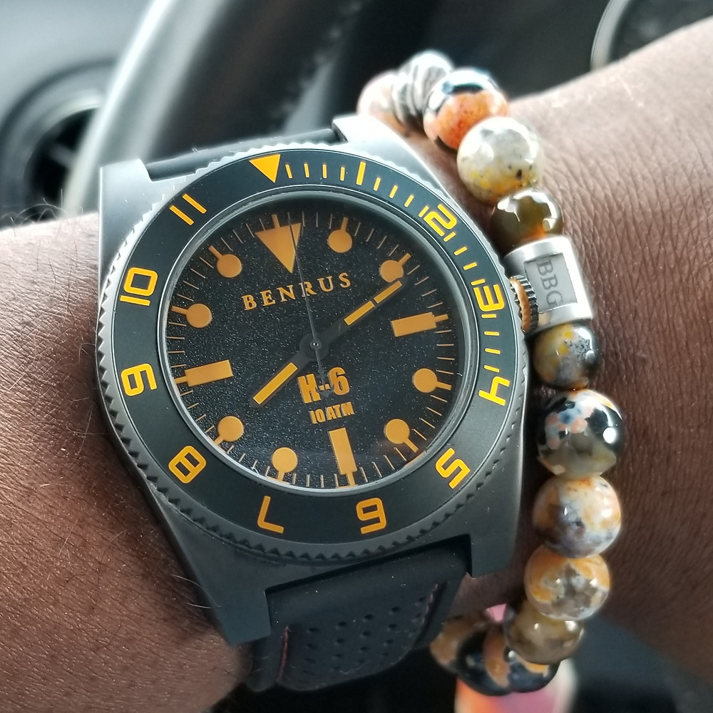 WOTD wrist-shot of the Benrus, H-6, Mil-Spec Diver.  Paired with a custom bracelet, designed by Beads By Gonzo.