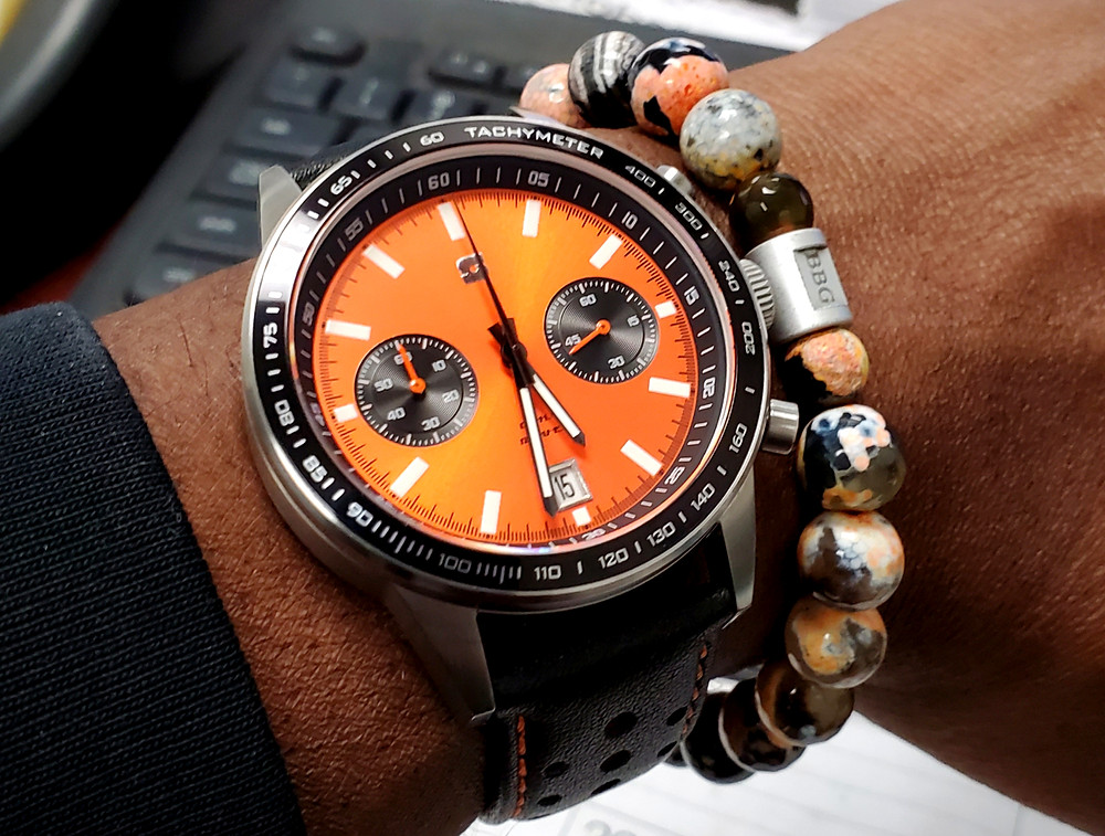 WOTD wrist-shot of the Straton, Daily Driver Chronograph.  Paired with a custom-crafted bracelet, designed by Beads By Gonzo.