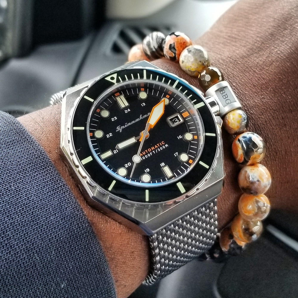 """WOTD wrist-shot of the Szanto, Danny Sullivan """"Icon"""" Series, Racing Chrograph Mod.  Paired with a custom, beaded bracelet, designed by Beads By Gonzo."""