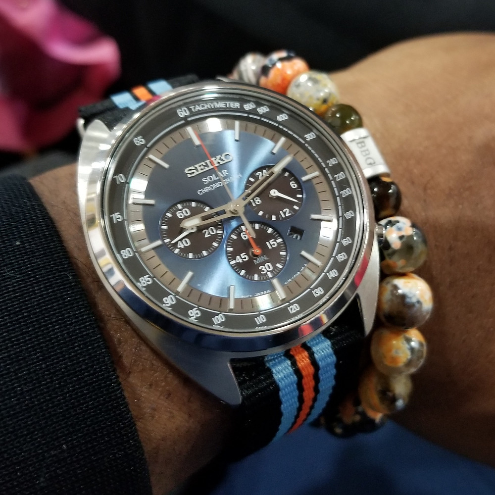 WOTD wrist-shot of the Seiko Recraft, Solar Chronograph, paired with a custom, beaded bracelet, designed by Beads By Gonzo.