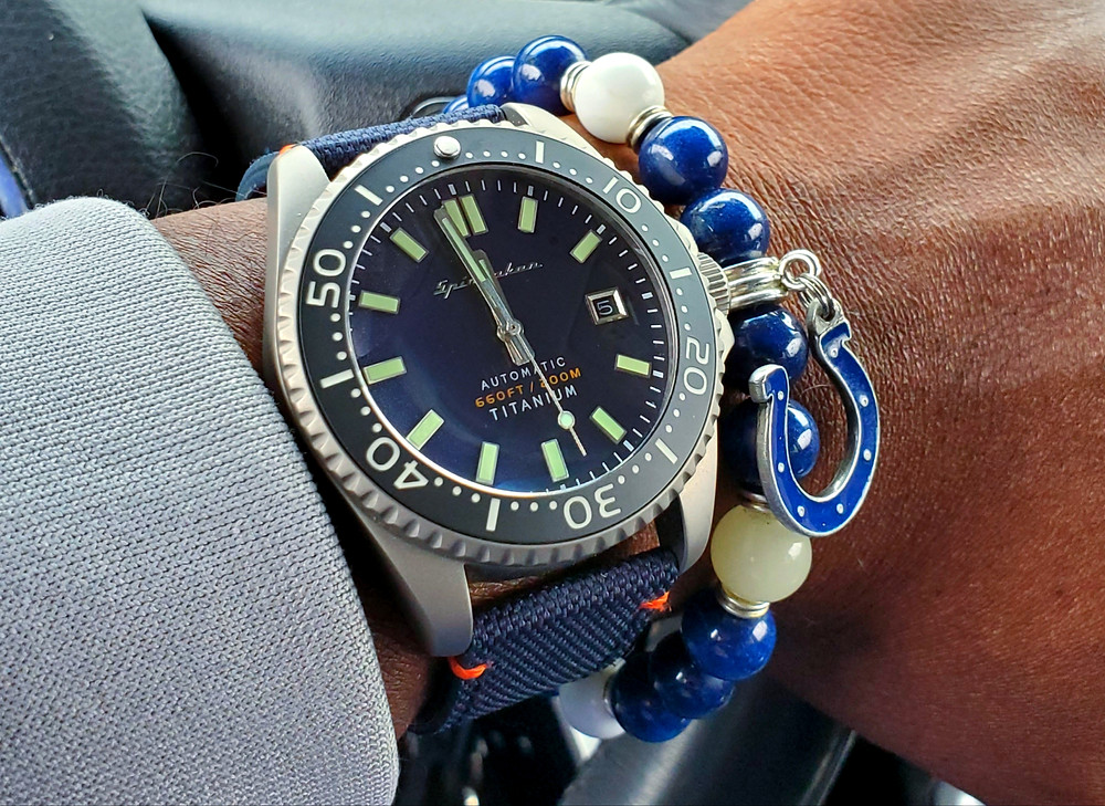 WOTD wrist-shot of the Spinnaker, Tesei Titanium.  Paired custom-crafted bracelet, designed by Beads By Gonzo.