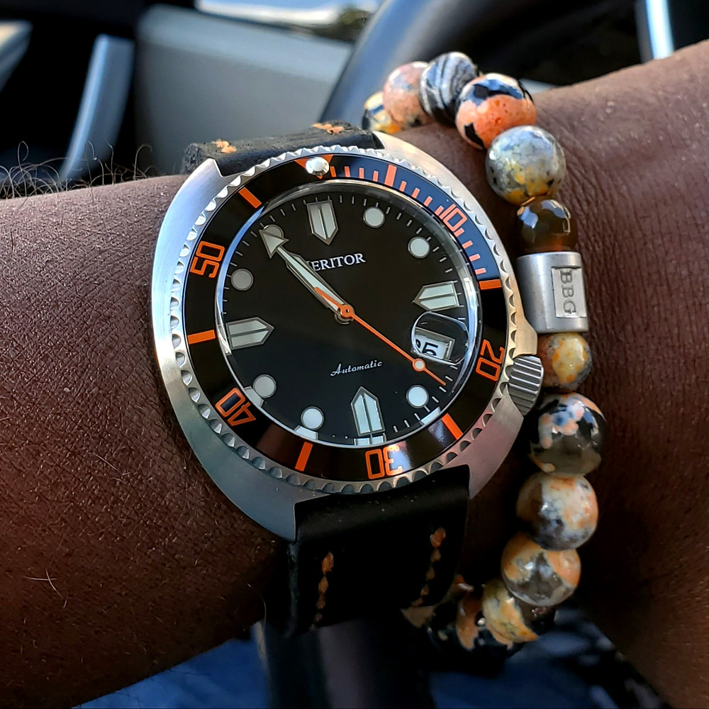 WOTD wrist-shot of the Heritor, Morrison Automatic.  Paired with a custom-designed bracelet, crafted by Beads By Gonzo.