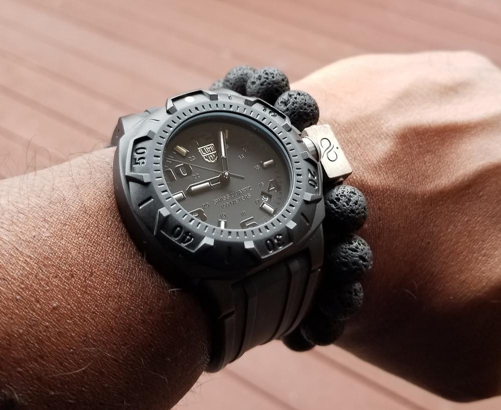 WOTD wrist shot of the Luminox, Sentry, 0200 accompanied by Aurum Brothers  lava beaded bracelet.