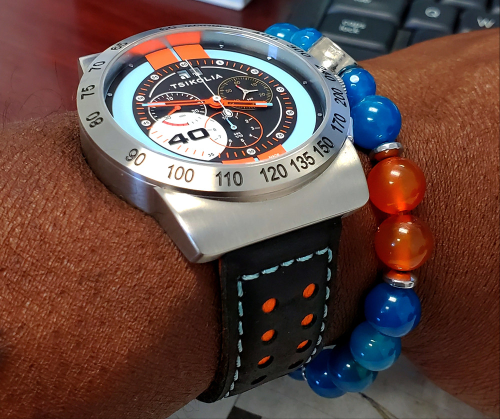 WOTD wrist-shot of the Tsikolia, GT40 Racing Chronograph, Limited Edition.  Paired custom-crafted bracelet, designed by Beads By Gonzo.
