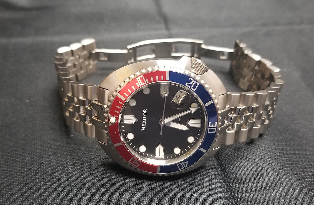 Heritor Morrison Automatic, Pepsi Version, on jubilee bracelet.