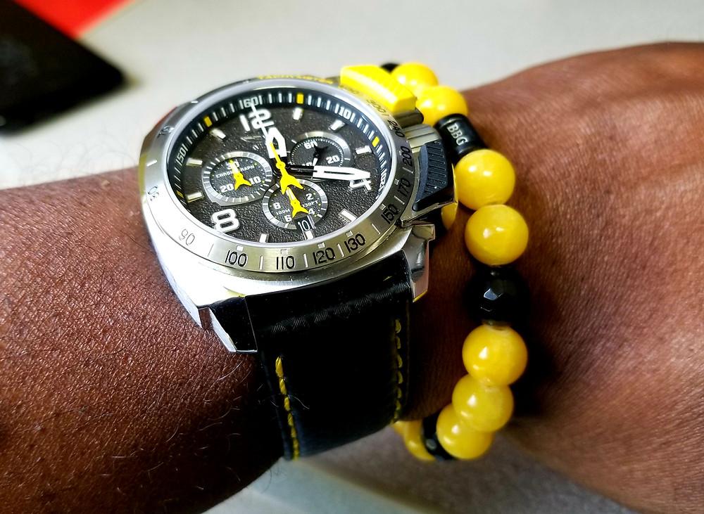 Wrist shot showing Aviator, Smith's Flight Team, Professional Chronograph With  Custom Beads By Gonzo (BBG) Bracelet.