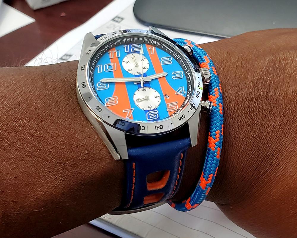 "WOTD wrist-shot of the Szanto, Danny Sullivan ""Icon Series"", Racing Chronograph Mod..  Accessorized with Roplet UK, marine-grade rope bracelet."