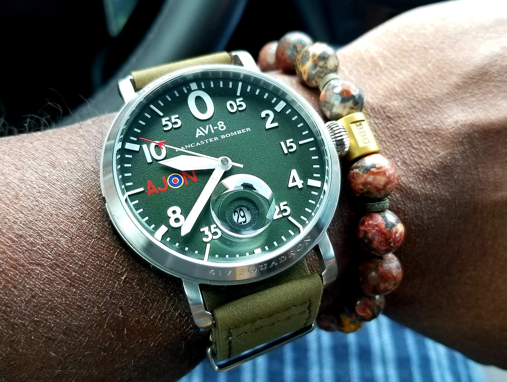 WOTD Wrist-Shot showing the AVI-8, Lancaster Bomber, Dambuster Pilot, accompanied by Beads by Gonzo custom beaded bracelet.