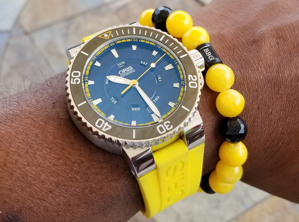 WOTD wrist-shot of the Oris, Aquis, Great Barrier Reef, Limited Edition II.  Paired with a custom-crafted bracelet, created by Beads By Gonzo.