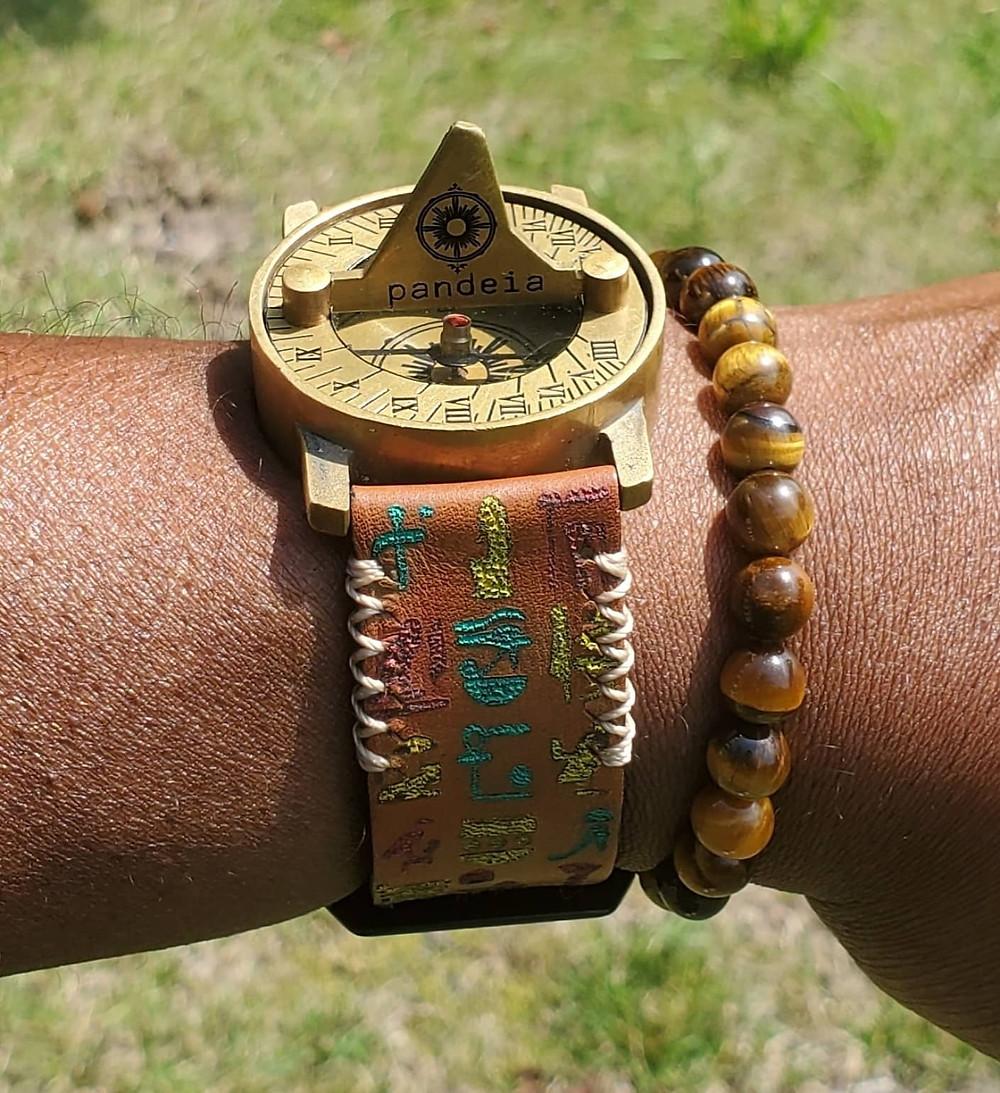 Pandeia Sundial Timepiece on custom, Brian Van Way, Hieroglyphics Strap.
